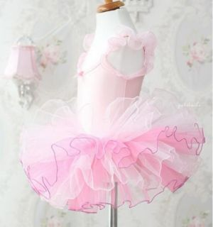 Girl Party Leotard Ballet Tutu Dance Dress 3 8Y Costume Sleeveless Free SHIP