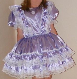 Gorgeous Deluxe Lilac Bridal Satin Adult Baby Sissy Little Girl Dress