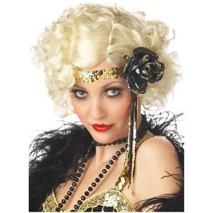 Jazz Baby Blonde Costume Wig Adult Womens Sexy Roaring 20s Flapper Halloween