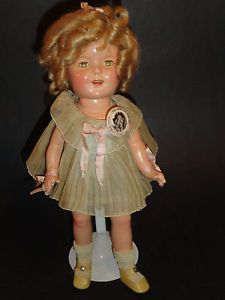 """1930's Composition Ideal 13"""" Shirley Temple Doll w Tags Pin Original Clothes"""