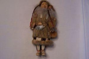 Eskimo Inuit Native American Folk Art Doll Fur Clothing Vintage