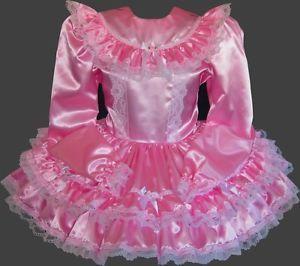 Long Sleeve *Custom Fit* Satin Adult Baby Sissy Little Girl Dress LEANNE