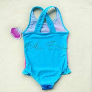 Girls Princess Ariel Mermaid Swimsuit Swimwear Bathing Suit Swim Costume Sz 2 7