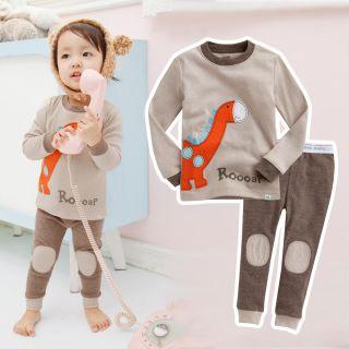"""Vaenait Baby Toddler Kids Boy Girl Clothes Sleepwear Pajama Set """"Brown Dino"""""""