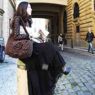 Womens Girls Boho Style Chiffon Elegant Lotus Leaf Summer Long Maxi Skirt Dress
