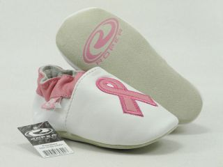 Roper Cowbabies Infants Prewalkers Baby Shoes Cancer Ribbon Pink White 200