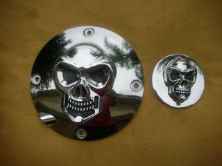 Harley Davidson Chrome Skull Collection Derby Points Covers