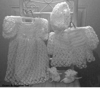 White Crochet Baby Christening Gown Sweater Hat Booties or Afghan Layette Set