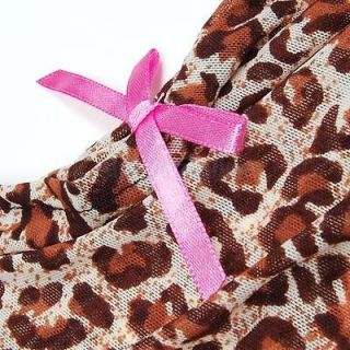 Women Intimate Apparel Sexy Leopard Print Lingerie Sleepwear Robe w G String
