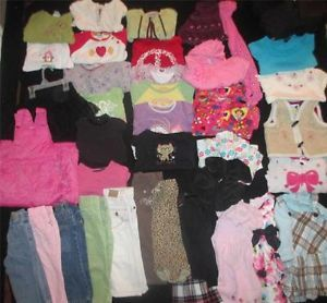 Huge Baby Girl Clothes Lot Size 18 24 Months Jeans Coat Fall Winter 2T Dresses