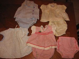 Vintage Baby Toddler Clothes Dresses w Waterproof Plastic Pants Diaper Covers