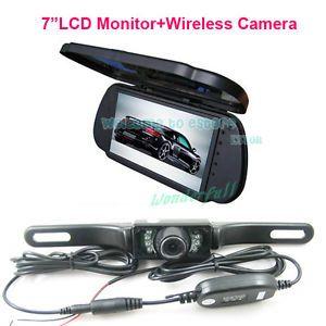 "7"" LCD Color Car Mirror Monitor Wireless IR Reverse Car Rear View Backup Camera"