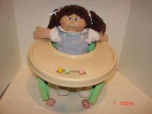 Vintage Cabbage Patch Kids Doll Brown Hair Baby Walker 1980's Original Clothing