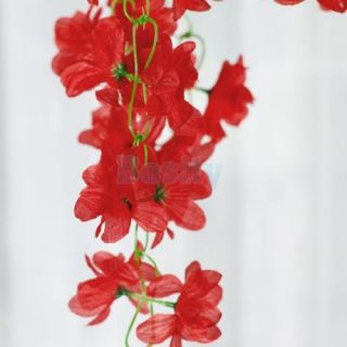 10pc Artificial Hanging Red Azalea Garland Silk Flower Vine Wedding Garden Decor
