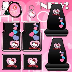 8PC Hello Kitty Car Mats Seat Covers Accessories Set
