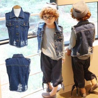 Londonkkoma Swan Denim Vest Baby Toddler Kids Boys Girls Made in Korea