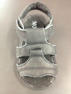 New J106 Black Toddler Boys Velcro Strap Faux Leather Strap Sandal Cushion Shoes
