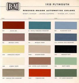 1958 Plymouth Paint Color Sample Chips Card Colors