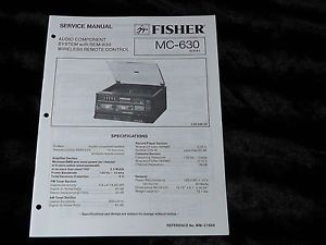 Original Fisher MC 630 MC 630 Component Stereo System Service Manual