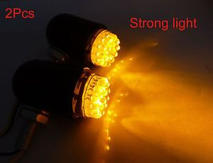 Universal Motorcycle Yellow Fog Lights 2X ATV Dirtbike Bullet 12V LED Lights New