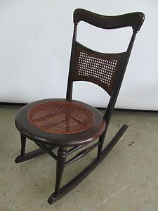 Antique Vintage Rocking Chair Carved Wood Woven Wicker Cane Rocker