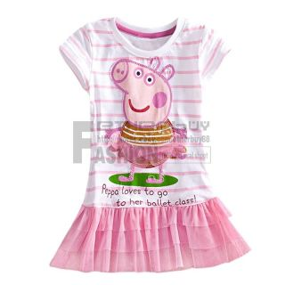 Pink Flower Tulle Peppa Pig Girl Top Dress Striped Ruffle T Shirt Tutu Skirt 2 7