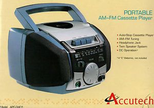 Accutech Portable Auto Stop Cassette Player with Am FM Radio Twin Speaker System