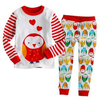 "Vaenait Baby Toddler Kid Boy Girl Long Sleeve Sleepwear Pajama Set ""Owl Red"""