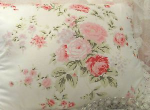 Wildflower Throw Pillow Shabby Rose Cottage Made w Ashwell Fabric Chic Chair Bed