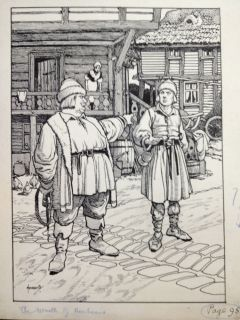 John Hassall Childrens Book Original Art Wreath of Moonbeams Page 95