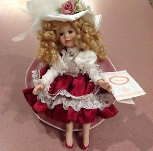 "Collectable Victorian Doll by ""Chatelaine""with Chair Music Box Beautiful Doll"