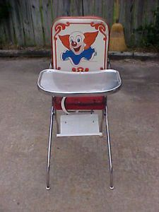 Bozo The Clown Vintage Peterson High Chair Original 1956 Metal Tray Folding