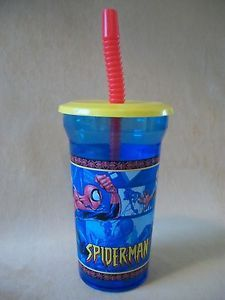 Marvel Spider Man 14 oz Hard Plastic Cup Snap on Lid Straw by Zak Design New