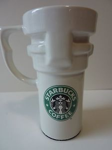STARBUCKS COFFEE Ceramic Travel MUG Cup WHITE Mermaid Logo with LID 14 OZ