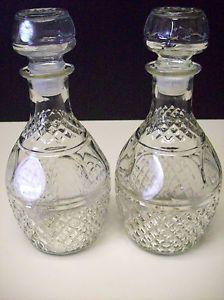 Set Of 2 Vintage Wine Decanter Bottles Cut Glass Crystal Liquor Whiskey Bottles