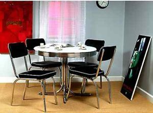 Retro 5 PC Dining Set Table Chairs Chrome Black Vintage Kitchen Cafe 50s Diner