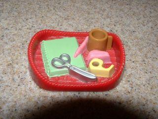 Fisher Price Loving Family Dollhouse Office Desk Supply Tray Plastic Genuine