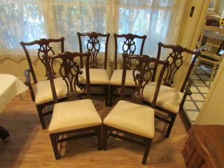Ethan Allen Georgian Court Chippendale Dining Chairs 11 6060 Cherry 6 Chairs