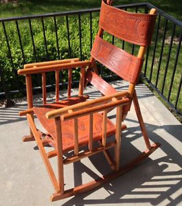 Costa Rica Leather Folding Rocking Chair Camping Patio Travel Rocker Fathers Day