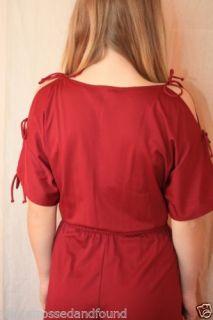 Womens Pant Suit Jumper Vtg 70s Retro Maroon Cranberry Garnet Red Disco 6 s C269