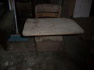 Antique School Chair with Swiveling Desk Top Irwin Brand Grand Rapids Michigan