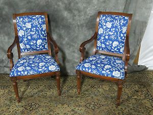 Pair Beautiful Cherry Ethan Allen Captains Dining Room Chairs WOW