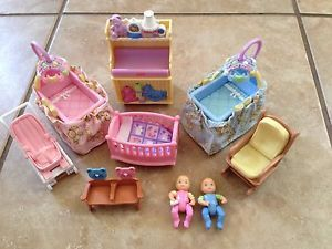 Fisher Price Loving Family Dollhouse Nursery with Twins Chair Crib Sounds Table