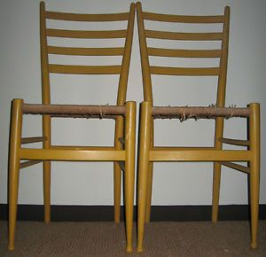 3 Mid Century Yellow Italian Gio Ponti Era Ladder Back Rush Seat Dining Chairs