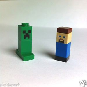 2 Minecraft Lego Steve Creeper Micro Minifigure 21102 Xbox PC Game Cuusoo Custom