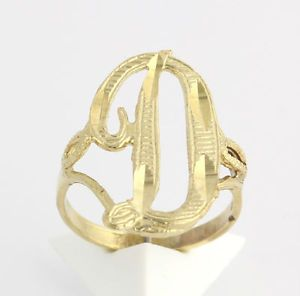 Initial D Ring Solid 10K Yellow Gold Chunky Fashion Estate Cursive Letter