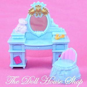 New Fisher Price Loving Family Dollhouse Blue Vanity Chair Stool Dresser Table