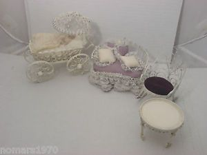 Beautiful Hand Made Victorian Dollhouse Baby Carriage Pram Couch Table Chair