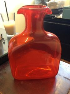Blenko Glass Water Bottle Decanter Pitcher Orange Scarce Large