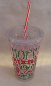 Christmas Insulated Tumbler Screw on Lid Reusable Straw Cup Glass Drink Cold